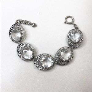 Juicy Couture Bracelet Silver Tone Crystal Glass